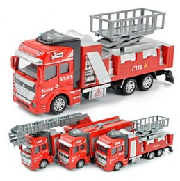 Wholesale Ladder Truck Model - Wholesale Kids Toys 1:48 Pull Back Alloy Car Fire truck series Model Ladder truck tankers lift trucks Diecasts Toy Vehicles for Boys