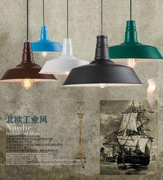 Wholesale Vintage Art Deco Painting - Dia*25-45cm American industrial loft vintage pendant lights for dining room iron multi-colored painted E27 Edison bulb home lamp