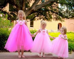 Wholesale Empire Waist Tulle Strapless Dress - Cute Lovely Pink Flower Girls Dresses 2017 Princess Empire Waist Tulle Handmade Flower Tutu Toddler Baby Child Dress Fast Delivery