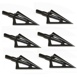 Wholesale Bow Targets - 6pcs Stainless Steel Broadheads 3 Fixed Blades Sharp Arrow Head Hunting Shooting 100 Grain Archery Arrowheads Tip Target Black