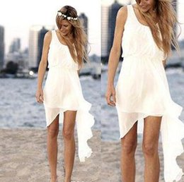 Wholesale Chiffon Asymmetrical Wedding Dress Beach - 2016 Summer Style Short Beach Wedding Dresses Asymmetrical Simple Design Scoop Neck Ivory Chiffon A Line Cheap Bridal Gowns Custom Made