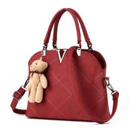 Wholesale V Bearings - V Word Shell Thread Women Shoulder Messenger Bags PU Leather ashion Lovely Plush Bear DecorationTotes Bags Plaid Women Handbag