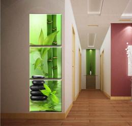 3 pannello di arte della parete della tela di canapa di pietra decorazione della casa di bambù stampe su tela immagini per soggiorno senza cornice da bambù vivo fornitori
