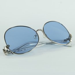 Wholesale Metal Round Rod - 2018 New Big Round Women Sunglasses Full Metal Frame With Rods Legs Special Hand Shape Hinge And Faux Pearl Nose Pads