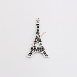 Wholesale Gold Eiffel Tower Charms - 10pcs Tibetan Silver Plated Eiffel Tower Charms Pendants for Jewelry Making DIY Handmade Craft 43x24mm