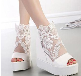Wholesale Sexy Platform Wedding Sandals - Sexy wedge sandal silver white lace wedding boots high platform peep toe ankle boots size 34 to 39