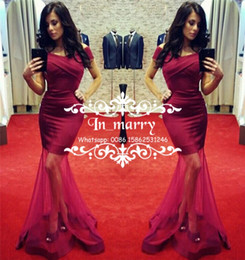 Wholesale Cheap Mermaid Skirts - Sexy Fuchsia Arabic African Formal Evening Gowns 2017 Trumpet Off Shoulder Plus Size Sheer Skirt Cheap Simple Women 2k17 Prom Party Dresses