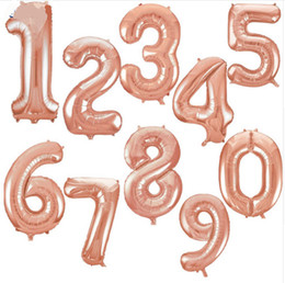 Wholesale Digital Foil - 32inch Rose gold figures Foil Balloons Kids Party Decoration Happy Birthday Wedding Digital balloon Number 1pcs