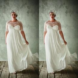 chiffon- spitzekurzschlußansatz-hochzeitskleid Rabatt Plus Size Brautkleider Empire Sheer Neck Illusion mit kurzen Ärmeln Spitze Applikationen Verschönerung Chiffon bodenlangen Brautkleid