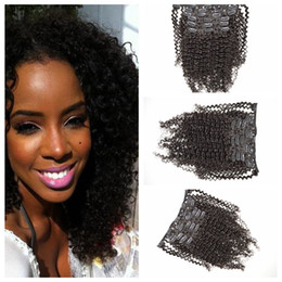 Wholesale Kinky Tights - Clip Hair Extensions Tangle Free No Shedding No Smell Tight and Neat kinky Curly Good Hair Extensions 7pcs clip on hair extensions G-EASY