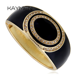 Wholesale Vintage Unique Bracelet - Wholesale-Kaymen Round Vintage Unique Gold Plated Black Resin With Rhinestone Cuff Bangle Bracelet For Women Fashion Jewelry BR-03085BK