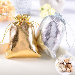 Wholesale Satin Bags For Jewelry - 100pcs 9*12CM Gold Silver Plated Gauze Jewelry Bags Jewelry Gift Pouch Bags For Wedding favors With Drawstring 2016 Hot Sale