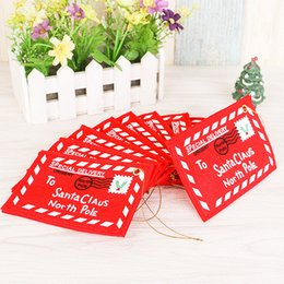 Wholesale F Cards - Christmas supplies The Christmas tree is dressed up hang Christmas non-woven bag envelope can candy Christmas cards B0753