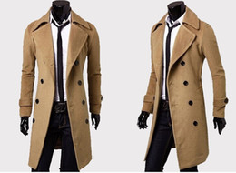 Wholesale Trench Coat Mens Lapels - Mens Designer Clothing Trench Coats Free Shipping Winter Fashion Single Breasted Cashmere Jacket Coats Men Overcoat Casacos