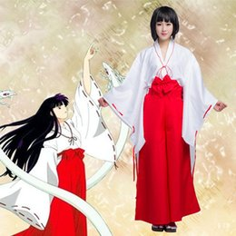 Wholesale Inuyasha Cosplay Costumes - Wholesale-Special Sale Hot Inuyasha Kikyo Kimono Cosplay Costume Full Set Custom made Halloween carnival Anime cosplay costume