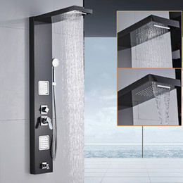 Wholesale Oil Rubbed Bath Faucets - Wall Shower Panel Stainless Steel Rainfall Waterfall Handle Shower Massage Jets Tub Spout Bath Shower Column Tower 5 Function +Handshower
