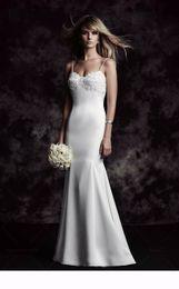 Wholesale Paloma Blanca Mermaid - 2016 Satin Mermaid Wedding Dress With Florals Applique Spaghetti Straps Sweetheart Neckline 4618 Paloma Blanca Abiti Da Sposa Se