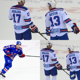 Wholesale Pavel Datsyuk Hockey Jersey - #13 Pavel Datsyuk KHL Jersey, CKA St Petersburg 17 Ilya Kovalchuk KHL Men's 100% Stitched Embroidery Logos Hockey Jerseys White Blue