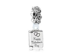 Wholesale European Book Charm - 24.3X8.9MM 925 Sterling Silver Valentine's Day Book Charms Beads Fit European Bracelets Fashion Natural Stone Jewelry 2016 In Stock