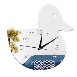 Wholesale Sticker Duck - Environmental children's room wall stickers decorative wall clock cute duck diy decorative wall clock bell new 2016 European and American