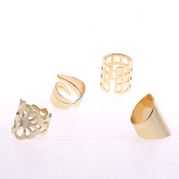 Wholesale Leaf Shaped Gold Plated Rings - Leaf Rings for women girls Punk Open hollow flowers rings new design gold plated multi shapes geometric Rings fashion Jewelry for gifts