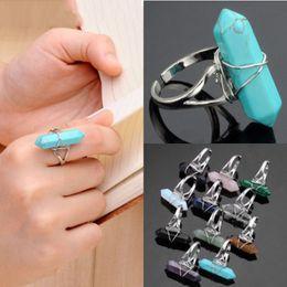 Wholesale Chakra Gemstone Set - Fluorite Opal Amethyst Quartz Gemstone Healing Chakra Crystal Stone Finger Ring