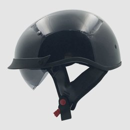 Wholesale Casque Moto Retro - wholesale 2016 New Arrival With Inner Sun Visor VCOROS Vintage Half Face Motorcycle Helmet Casco Casque Moto Harley Retro Helmets DOT