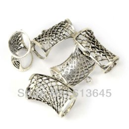 Wholesale Scarf Charms Tubes - 12PCS LOT, Top Popular DIY Jewelry Necklace Scarf Findings Alloy Net Design Slide Tube Bails Charm, Free Shipping, AC0198