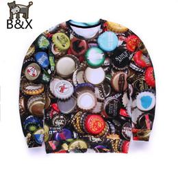 Wholesale Graphic Designs Shirts - Wholesale-Popular Beer cap design men 3d sweatshirt funny graphic hoodies punk long sleeve mens sweat shirt tops