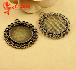 Wholesale Wholesale Metal 25mm Round Tray - 39MM Fit 25MM Antique Bronze The time gem bottom support DIY accessories, round metal stamping blank, cabochon setting base tray