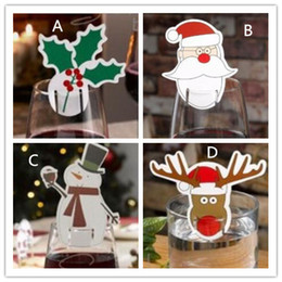 Wholesale glass table decorations - New Table Place Cards Christmas Santa Hat Wine Glass Decoration