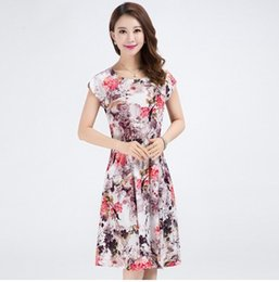 Wholesale Mather Dresses - Free shipping 2017 summer new print flower Dress thin stye soft material short sleeve casual mather dresses Plus Size XXXL