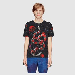 Wholesale Top Printed Birds - 2017 NEW Hot Sale T-Shirt Men Shortsleeve Stretch Cotton Jersery Tee Men's Embroidery Tiger Printed Bird Snake Crew Collar Casual Tops Male