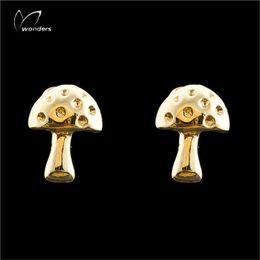 Wholesale Stud Earrings For Cheap - Wholesale 10Pcs lot Cheap Earrings 2017 Fashion 925 Earring Zinc Alloy Jewelry 18K Gold Wild Mushroom Stud Earrings For Women