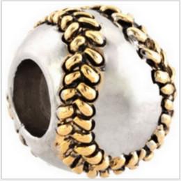 Wholesale bracelets chamilia - Fits Pandora Bracelets 30pcs Golden Baseball Silver Charm Beads Spo Chamilia Charms For Wholesale Diy European Necklace Snake Chain Bracelet