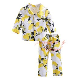 Wholesale high collar quarter sleeve - Petigirl High Quality Yellow Lemon Pattern Clothing Sets For Girls Three Quarter Sleeve Coats and Long Casual Pants CS90124-523F