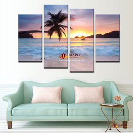 Wholesale Large Canvas Art Sets - 4 panel set large wall pictures modern abstract home decor wall painting art picture seascape for living room decortion
