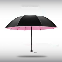 Wholesale Vinyl Coat Black - Creative Korea folding small black umbrella vinyl sun umbrella sunny umbrella for woman man