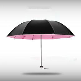 Wholesale Coats For Women Korea - Creative Korea folding small black umbrella vinyl sun umbrella sunny umbrella for woman man