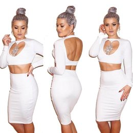 Wholesale High Low Sexy Dress S - Women Elegant Two Piece Set Summer Party Club Dress Sexy Hollow Out Low Cut Mini Dress White Backless High Waist Bodycon Dress