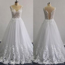 Wholesale Long Pattern Skirts - Real Images 2016 Laser Patterns Beaded Wedding Dresses A -Line Illusion Neckline Sleeveless Layers Skirt Ruffle Lace Appliques Bridal Gowns