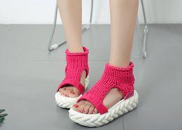 Wholesale Knit Sandals - New Woolen Knitted Sandals Women Thick Heels Platform Sandals Fashion Popular Student Summer Shoes Woman
