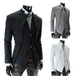 Wholesale Mens Grey Skinny Suit - New Brand British Style Slim Men Suits Mens Stylish Design Blazer Casual Business Fashion Jacket Black Grey White free shipping