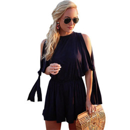 Wholesale Lace Rompers Dresses - Sexy Overalls Cold Shoulder Lace-up Half Sleeve Women Loose Casual Jumpsuit Rompers Summer 2017 New Wide Leg Pants