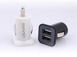 Carregador de carro dupla branco on-line-Preto / branco USAMS 3.1A Carregador de Carro USB Plug Dual Duplo Mini Micro Adaptador Auto 2 em 1