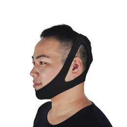 Wholesale Anti Snoring Devices - Black Anti Snoring Chin Strap Neoprene Stop Snoring Chin Strap Support Belt Anti Apnea Jaw Solution Sleep Device Snoring Cessation 0613018