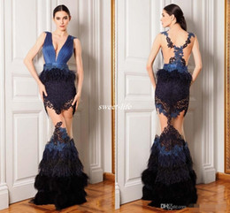 Wholesale Trumpet Shaped Prom Dresses - Luxury Feather Celebrity Dresses See Through V Neck Mermaid Shape Sheer Tulle Chiffon Appliques Prom Gowns Evening Dress 2016 New Arrival