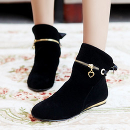 Wholesale Boots Big Sizes - Wholesale- Women's Shoes Low Heel Suede Upper Silk Bow tie Shoes Casual Dress Spring Autumn Winter Boots Female Ankle Boots Big size 34-43