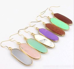 Wholesale Crystal For Chandelier Wholesale - Geometric Natural Crystal Gem Stone Earrings Scott Dangle Chandelier Real Gold Plated Popular Eardrop for Lady Simple Jewelry Hot