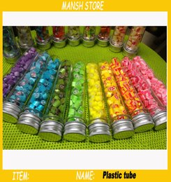Wholesale Clear Plastic Pet Containers - 50pcs lot 40ml Empty Clear Plastic Tube PET Candy Bottle With Aluminum Cap Plastic Candy Container Bottle Free Shipping